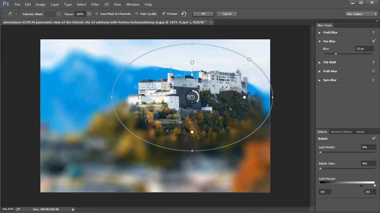 desenfoque o bokeh en Photoshop 2