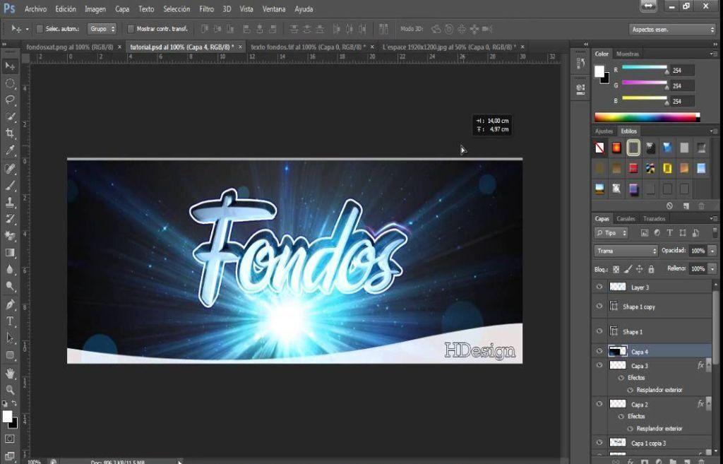 usar lineas de colores en photoshop 22